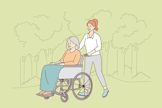 Dbanie o koncepcję osób starszych niepełnosprawnych. młoda uśmiechnięta dama idzie i jedzie pozytywna dojrzała kobieta na wózku inwalidzkim osoba niepełnosprawna na zewnątrz w letni dzień ilustracji wektorowych
