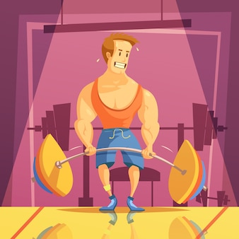 Deadlift i gym kreskówki tło z ciężaru sztangą i mężczyzna