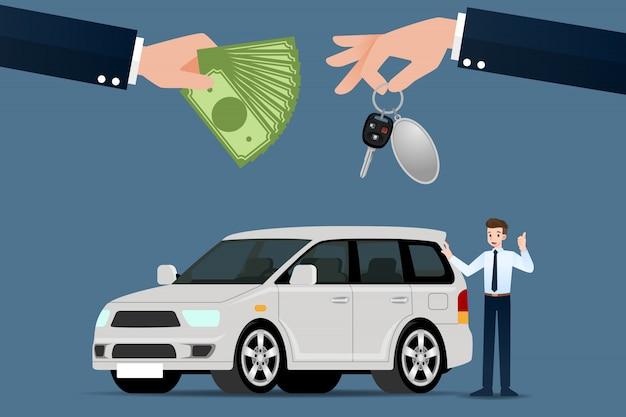 Dealer samochodów dokonuje wymiany.