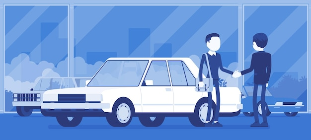 Dealer w salonie samochodowym wystawia pojazd na sprzedaż. mężczyzna sprzedawca samochodów, klient zawiera umowę w agencji sprzedaży, mężczyzna kupuje nowe auto, interes w sklepie. ilustracja wektorowa, postacie bez twarzy