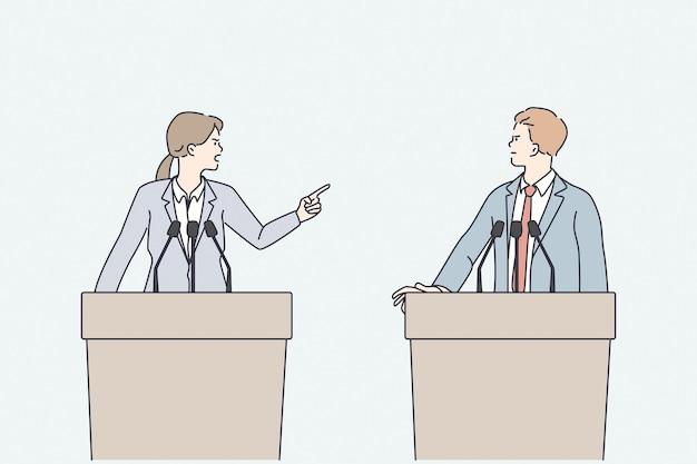 Debaty polityczne i argumentowanie koncepcji. młody zły mężczyzna i kobieta politycy stojący przed trybunami mówców kłócącymi się ze sobą ilustracji wektorowych