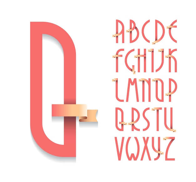 Deco krój pisma vintage plakat, czcionka. zestaw liter łacińskich w stylu retro z wstążkami.