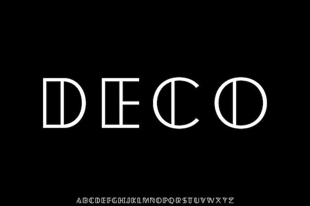 Deco, nowoczesna geometryczna czcionka alfabetu cienka linia