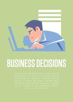 Decyzje biznesowe ilustracyjne z teksta szablonem z biznesmenami