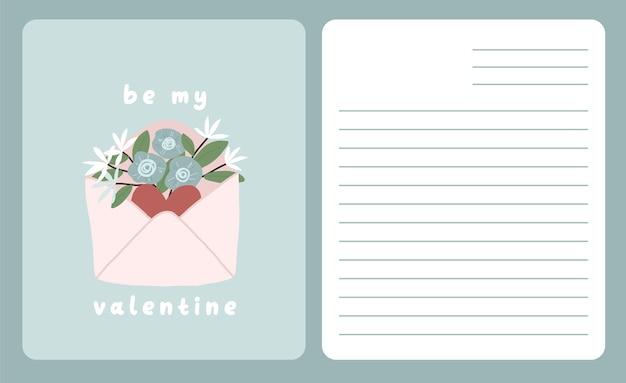 Dedykacja karty walentynki list miłosny ładny skandynawski projekt kreskówki