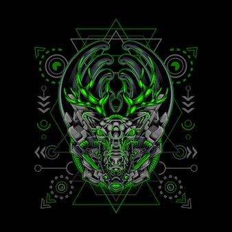 Deer cyborg style sacred geometry