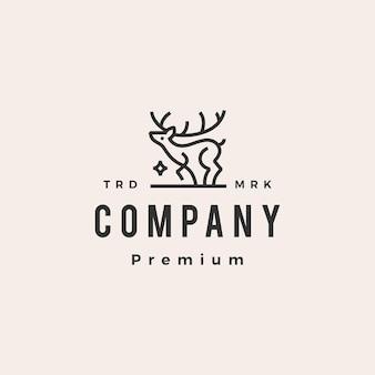 Deer star monoline kontur hipster vintage logo szablon