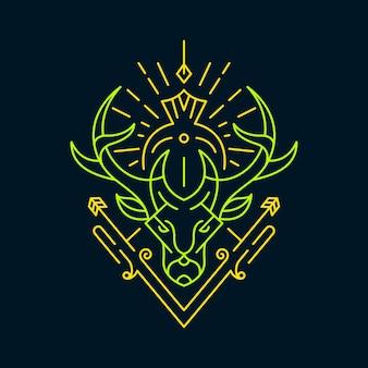 Deer symetria ornament monoline streszczenie