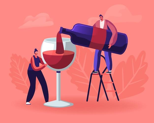 Degustacja wina. mężczyzna nalewa wino do kobiety trzymającej ogromny kieliszek. płaskie ilustracja kreskówka