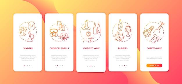 Degustacja wina na ekranie strony aplikacji mobilnej wprowadzającej z koncepcjami. słabej jakości alkohol po uszkodzeniu butelki instrukcja 5 kroków graficznych. szablon wektorowy interfejsu użytkownika z kolorowymi ilustracjami rgb