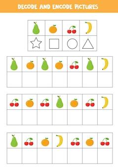 Dekoduj i koduj zdjęcia. gra logiczna z uroczymi owocami i jagodami z kreskówek.