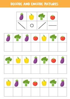 Dekoduj i koduj zdjęcia. gra logiczna z warzywami kreskówka.
