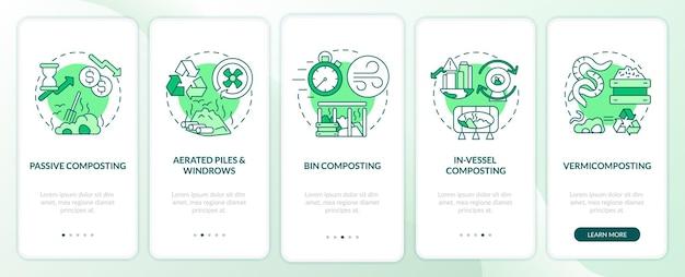 Dekompozycja wprowadzającego ekranu strony aplikacji mobilnej z koncepcjami. kroki przejścia kompostowania pasywnego, koszowego, kompostowania w naczyniu. szablon ui z kolorem rgb