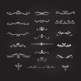 Dekoraci elementów blackboard rocznika wektor kaligraficzny