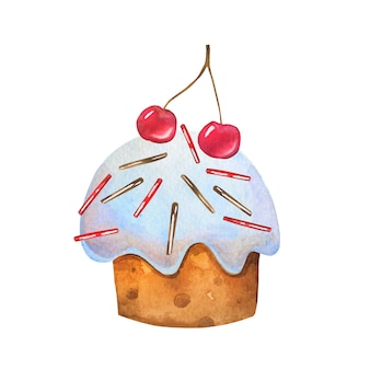 Dekoracja czereśni na deser ręcznie rysowane akwarelą.