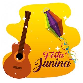Dekoracja gitary i latarni na festa junina