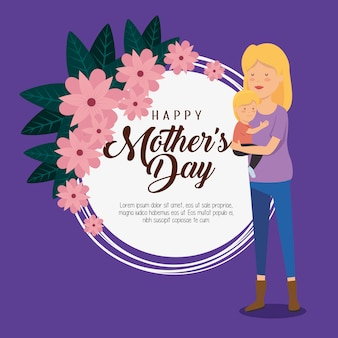 Dekoracja karty i kobieta z synem na dzień matki