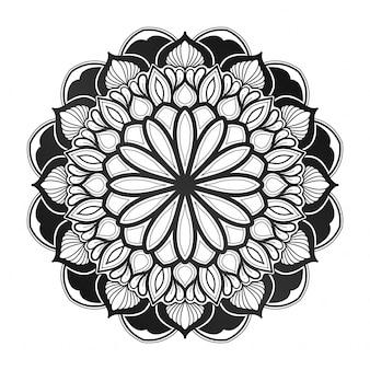 Dekoracja kwiatowa mandali. styl geometryczny. indyjski, arabski, islamski. wizytówka, okładka. z zielonym ogrodowym niebieskim.