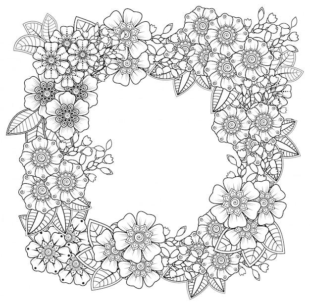 Dekoracja kwiatowa mehndi w etnicznym orientalnym, indyjskim stylu. doodle ornament. zarys ilustracji rysować ręka.