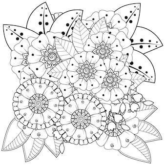 Dekoracja kwiatowa mehndi w etnicznym orientalnym stylu indyjskim doodle ornament kontur ręcznie rysować ilustracja kolorowanki książki