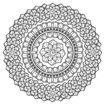 Dekoracja kwiatowa mehndi w etnicznym stylu orientalnym, indyjskim.
