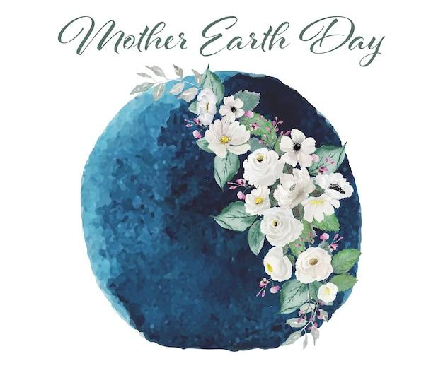 Dekoracja Kwiatowa Na Dzień Matki Ziemi Premium Wektorów
