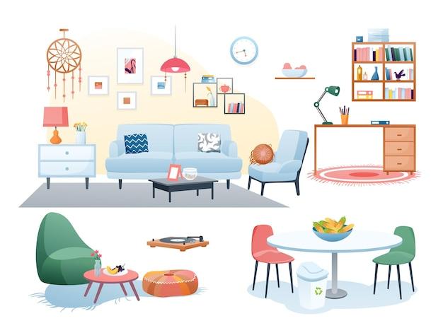 Dekoracja mebli w domu. pokój dzienny, wyposażenie wnętrz biura domowego, kuchnia