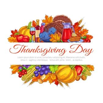 Dekoracja pozdrowienie święto dziękczynienia. listopadowy projekt obchodów tradycyjnego amerykańskiego święta dziękczynienia. jesienne zbiory owoców i warzyw są obfite, a na stole jest dużo jedzenia