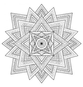 Dekoracja projektu mandali. kolorowanka dla dorosłych