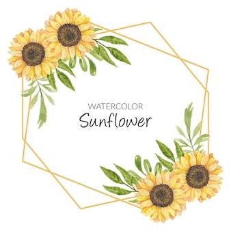 Dekoracja ramy słonecznika akwarela ilustracja