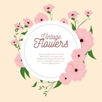 Dekoracja ramy vintage kwiaty
