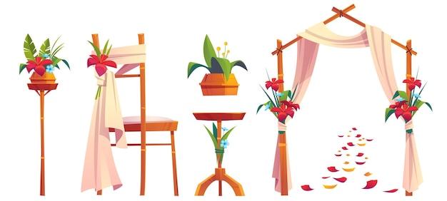 Dekoracja ślubna na plaży z kwiatowym łukiem i krzesłem na białym tle