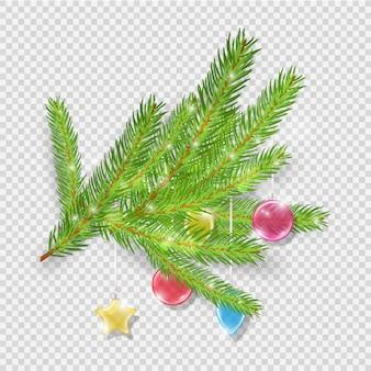 Dekoracja świąteczna. zielone gałęzie choinki z kulkami szklanymi. element ferii zimowych