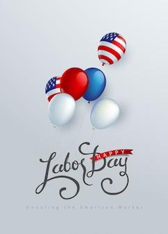 Dekoracja tła szczęśliwy dzień pracy z balonem flaga ameryki.