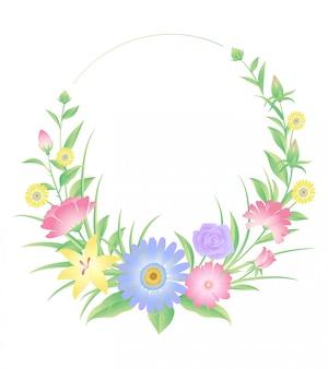 Dekoracja w kwiatowe ramki. kwiaty róży i liście.