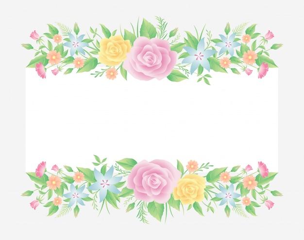 Dekoracja w kwiatowe ramki. kwiaty róży z liśćmi