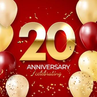 Dekoracja z okazji rocznicy, złota cyfra 20 z konfetti, balonami, błyskotkami i wstążkami serpentynowymi