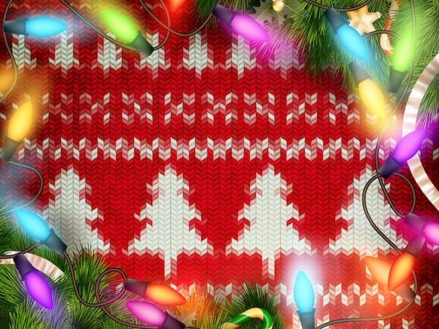 Dekorację świąteczną nowego roku. szablon boże narodzenie na tle z dzianiny. ilustracja na nowy rok, boże narodzenie, ferie zimowe, sylwester, silvester, itp. dołączony plik