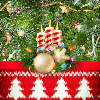 Dekorację świąteczną Nowego Roku. Szablon Boże Narodzenie Na Tle Z Dzianiny. Ilustracja Na Nowy Rok, Boże Narodzenie, Ferie Zimowe, Sylwester, Silvester, Itp. Dołączony Plik Premium Wektorów