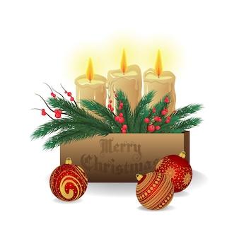 Dekoracje świąteczne, dekoracje. świerk gałąź, jemioła. drewniane pudło. ozdoby choinkowe. świece. na białym tle. wesołych świąt i szczęśliwego nowego roku.