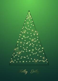 Dekoracyjna choinka wykonana ze światełek na zielonym tle