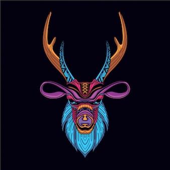 Dekoracyjna głowa jelenia w blasku neonowego koloru
