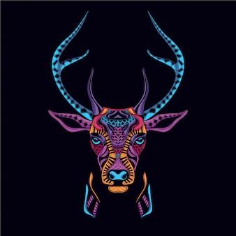 Dekoracyjna głowa jelenia z neonowego koloru