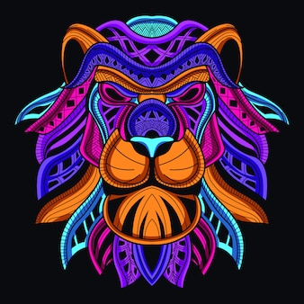 Dekoracyjna głowa lwa w blasku neonowego koloru