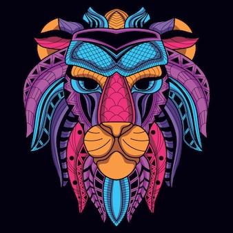 Dekoracyjna głowa lwa z neonowego koloru