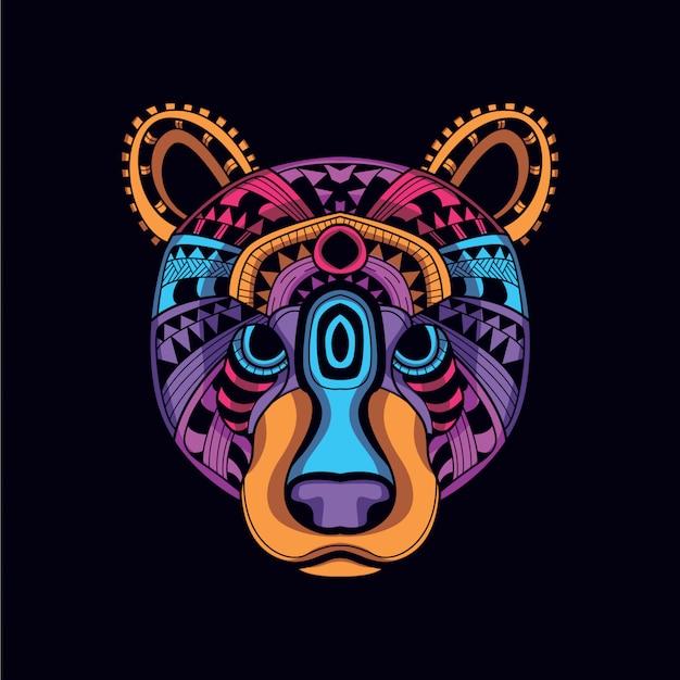 Dekoracyjna głowa niedźwiedzia z blasku neonowego koloru