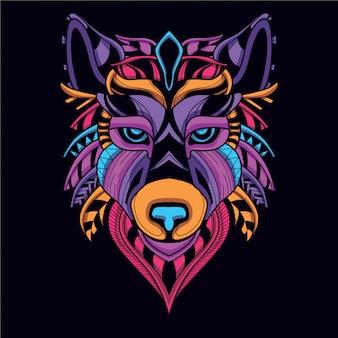 Dekoracyjna głowa wilka w blasku neonowego koloru