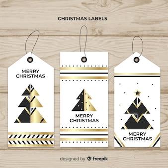 Dekoracyjna kolekcja świątecznych etykiet z czarnym i złotym