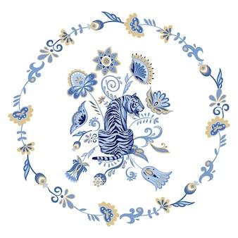 Dekoracyjna kompozycja kwiatowa z granatowym nordyckim tygrysem i abstrakcyjnymi orientalnymi kwiatami i roślinami