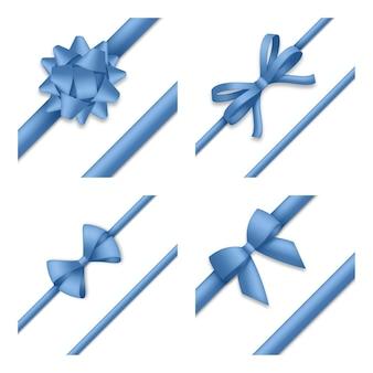 Dekoracyjna niebieska kokarda z ilustracją wstążki